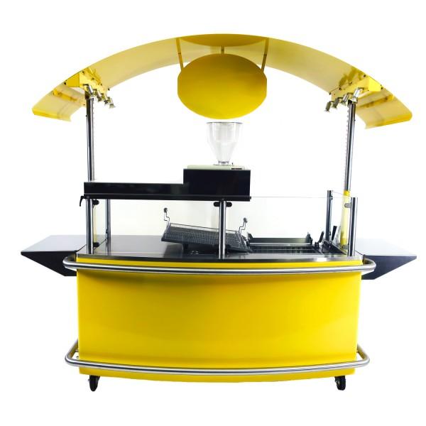"""Back- und Verkaufsstation """"Euro-Stand"""" Gelb mit heizschlangenlosen Fettbackgerät"""